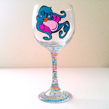 Sparrow Wine Glass Graffiti Art Tattoo Style Hand Painted Wine Glasses Glassware Barware Gifts For Her