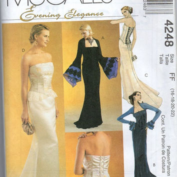 McCall's Evening Elegance Sewing Pattern Fancy Gown Corset Top Straight Skirt Train Bell Sleeves Wedding Dress Bride Uncut Size 16 to 22