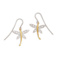 Rhodium Plated Silver/14K Gold Plated CZ Dragonfly Earrings on French Wire