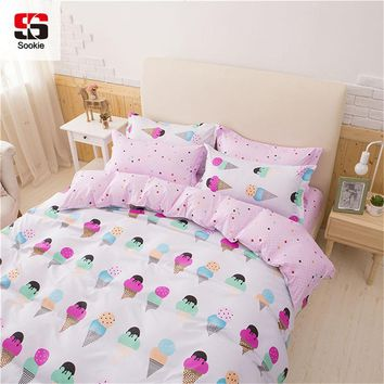 Cool Sookie Pretty Pink 3/4pcs Bedding Set king queen Size Bed Linen for Girls Ice Cream Printed Duvet Cover Pillowcase SetAT_93_12