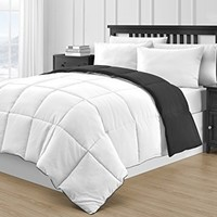 P&R Bedding Reversible Microfiber Black & White 3-Piece Comforter Set (Queen, Black & White)