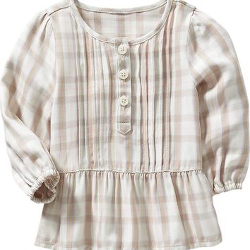 Old Navy Plaid Ruffle Hem Tunics For Baby