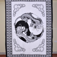 Thai Dragon Print White Tapestry Hippy Wall Hanging Indian Throw Bedspread Queen Bed Decor Ethnic Sheet Decorative Art
