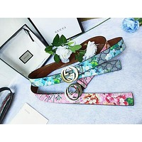 Fashion New Smooth Buckle Belt Leather Belt Women Men Belt Floral Print Waist Personality Belt