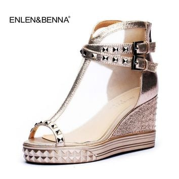 women sandals 2016 summer fashion brand design wedge sandals thick heel Boots girls sa
