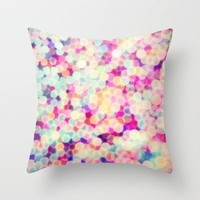 Psychedelic Bokeh Throw Pillow by Sharon Johnstone