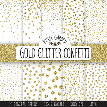 Gold Glitter Confetti Digital Paper. Gold Metallic Dot Confetti Scarpbooking Background. Gold Christmas Digital Paper. Gold Snow Pattern.