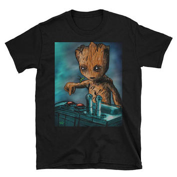 Baby Groot Death Button Best Seller Short-Sleeve Unisex T-Shirt: Sizes Small to 3XL for Men, Women