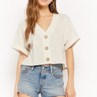 Boxy Button-Front Crop Top