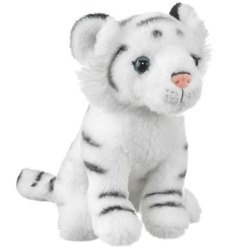 "8"" Sitting White Tiger Small Stuffed Animals Floppy Zoo Conservation Collection"
