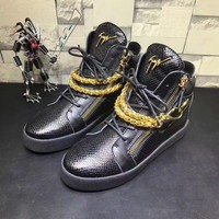 Giuseppe Zanotti Men's May London Leather Fashion Mid Top Sneakers Shoes