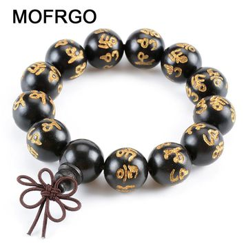 MOFRGO Sanskrit Wood Buddha Bead Bracelet Men Meditation Braided Knots Chinese Style Carved Personalized Wristband Bracelet Male