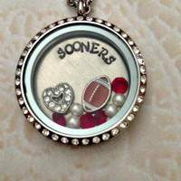 "Living locket, Memory locket large stainless steel for the Oklahoma Sooners fans comes with 32"" stainless steel chain"