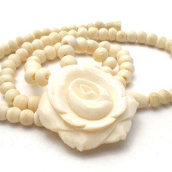 Hand Carved Bone Bead Rose Necklace Antique