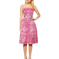 Pink and White Floral Print Knee Length Pleated Cocktail Dress