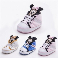 New Fashion Infant Toddler Newborn Baby Infant Toddler Crib Babe Girls Princess Boy Kids First Walkers Minnie Mickey Shoes
