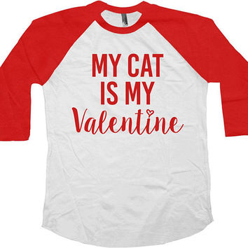 Valentines Day T Shirt Baseball Tee Cat Mom TShirt Valentines Shirt Cat Lover Gift Crazy Cat Lady Mother Of Cats V Day Raglan - SA1027
