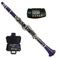 Merano B Flat Purple / Silver Clarinet with Case+Mouth Piece+Reed and Cap; Screwdriver; Soft Cleaning Cloth; Cork Grease; A Pair of Gloves+Free Metro Tuner