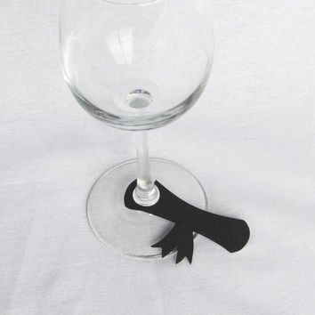 Graduation Glass Markers, Disposable Name Tags (set of 15)