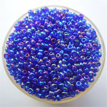 Free Shipping Bright Deep Blue AB Color 1000Pcs 2mm Czech Glass Seed Spacer Beads Jewelry Making DIY Pick 46 Colors