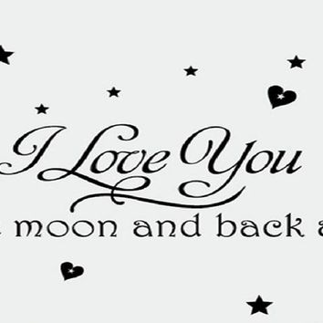 Moon and Star Loving Quotes Vinyl Wall Stickers