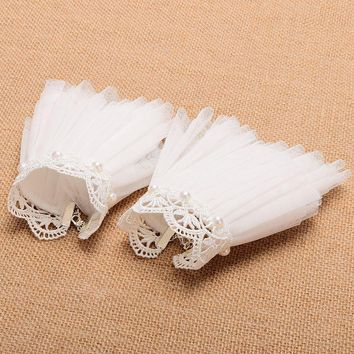 1 Pair White Lace Wrist Cuffs with beads Victorian Bracelet Medieval Cosplay Accsesory