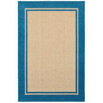 Cayman Sand Blue Border Outdoor Transitional Rug