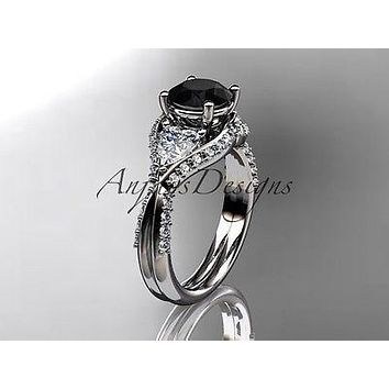 Unique Platinum diamond engagement ring, enhanced Black Diamond ADLR319