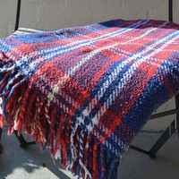 Vintage Tartan Plaid Wool (?) Fringed Blanket Stadium Throw or Table Cloth Red White Blue Golden Yellow