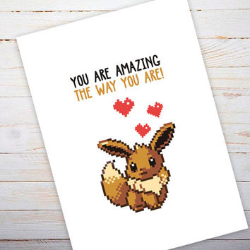 Pokemon Valentines Day Card, Eevee, Pokemon Valentine Gift, Pokemon Valetine Card, Geeky Valentine Gift, Geeky Valentine Card, Her, For Him