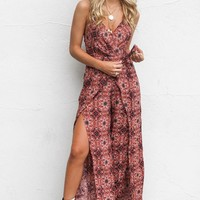 New York Boho Medallion Wrap Front Jumpsuit
