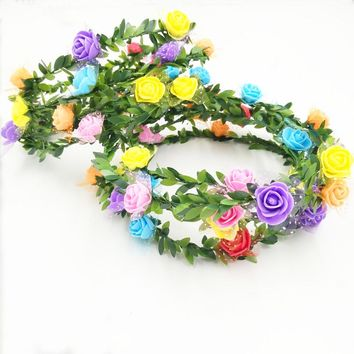 Summer Beach Bridal Flower Garland Women's Wreaths Floral Headband Hair Band Gift Wedding Prom Hair Accessories FE