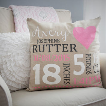 Heart Themed Personalized birth pillow cover
