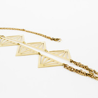 Raw Brass Triangle Pendant Necklace