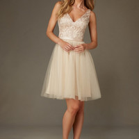 Mori Lee Bridesmaids 133 Short Tulle & Beaded Embroidery Dress