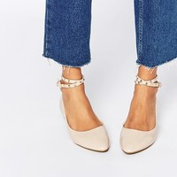 Daisy Street Nude Studded Ankle Strap Ballet Flat Shoes at asos.com