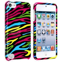 White Black Hybrid Zebra Rubber Hard Soft Case Cover For iPod Touch 5th Gen 5 5G