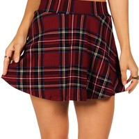 Red Mad For Plaid Skater Skirt