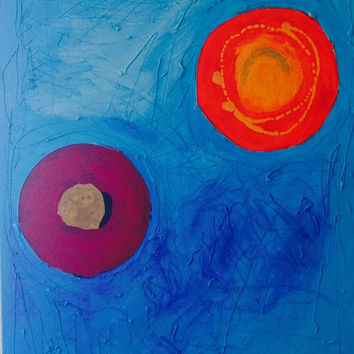 "Acrylic Painting Original ""Sickness"" - Handmade, Mixed Media, Hot Glue, Canvas, Blue, Orange, Red, Abstract, Obscure, Shapes, Large, OOAK"