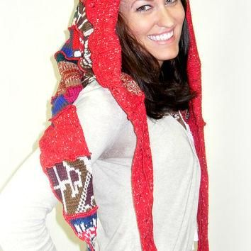OOAK Upcycled Elf Hood, Upcycled Elf Snoodie, Holiday Pixie Hood, Red Fairy Hood, 100%