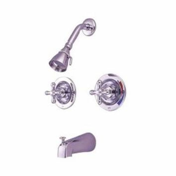 CREYONV elements of design eb661ax new orleans chrome pressure balanced tub and shower faucet with metal cross