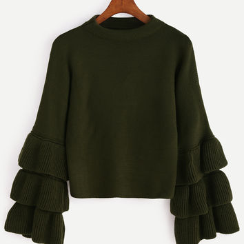 Olive Green Pullover Layered  Sweater