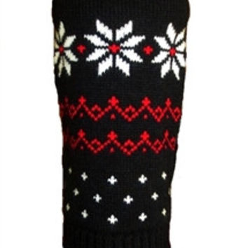 Black Fair Isle Snowflake Dog Sweater