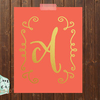 Coral And Gold Foil Monogram Print  Letter Print  Gold Foil Print  Gold Print  Dorm Decor  Inspirational Decor  Gold Poster  Print Decor