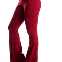 BURGUNDY SUEDE FEEL ELASTIC WAISTBAND CASUAL BELL BOTTOM PANTS