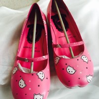 NEW IRREGULAR CHOICE CUTE KITTY PINK LEATHER LADIES BALLERINAS SHOES SIZE 4