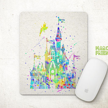 Sleeping Beauty Mouse Pad, Castles Watercolor Art, Mousepad, Office Decor, Gift, Art Print, Desk Deco, Computer Mouse, Disney Accessories