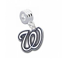 """Washington Nationals Charm with Connector """"Classic & Original Style"""" - Fits: Pandora, Troll, Biagi & More! Perfect For Custom Bracelets, Necklaces and DIY Jewelry"""