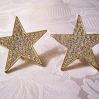 Star Clip On Earrings Gold Tone Vintage Richelieu Crystal Rhinestones