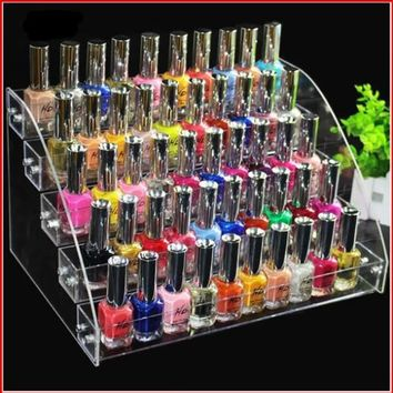 Fashion Clear 5 Layers Nailpolish Rack Makeup Storage Display ✈ Worldwide Delivery